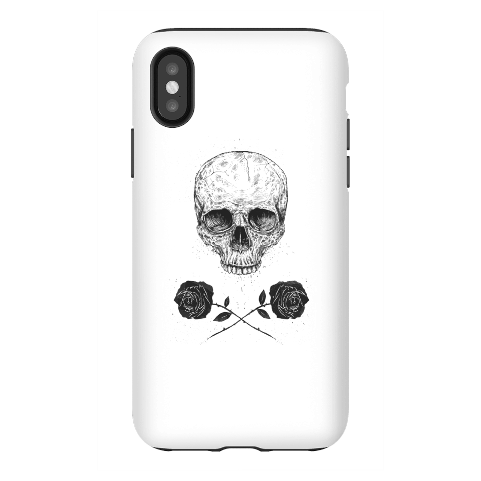 Balazs Solti Skull And Roses Phone Case for iPhone and Android - iPhone X - Tough Case - Gloss von Balazs Solti