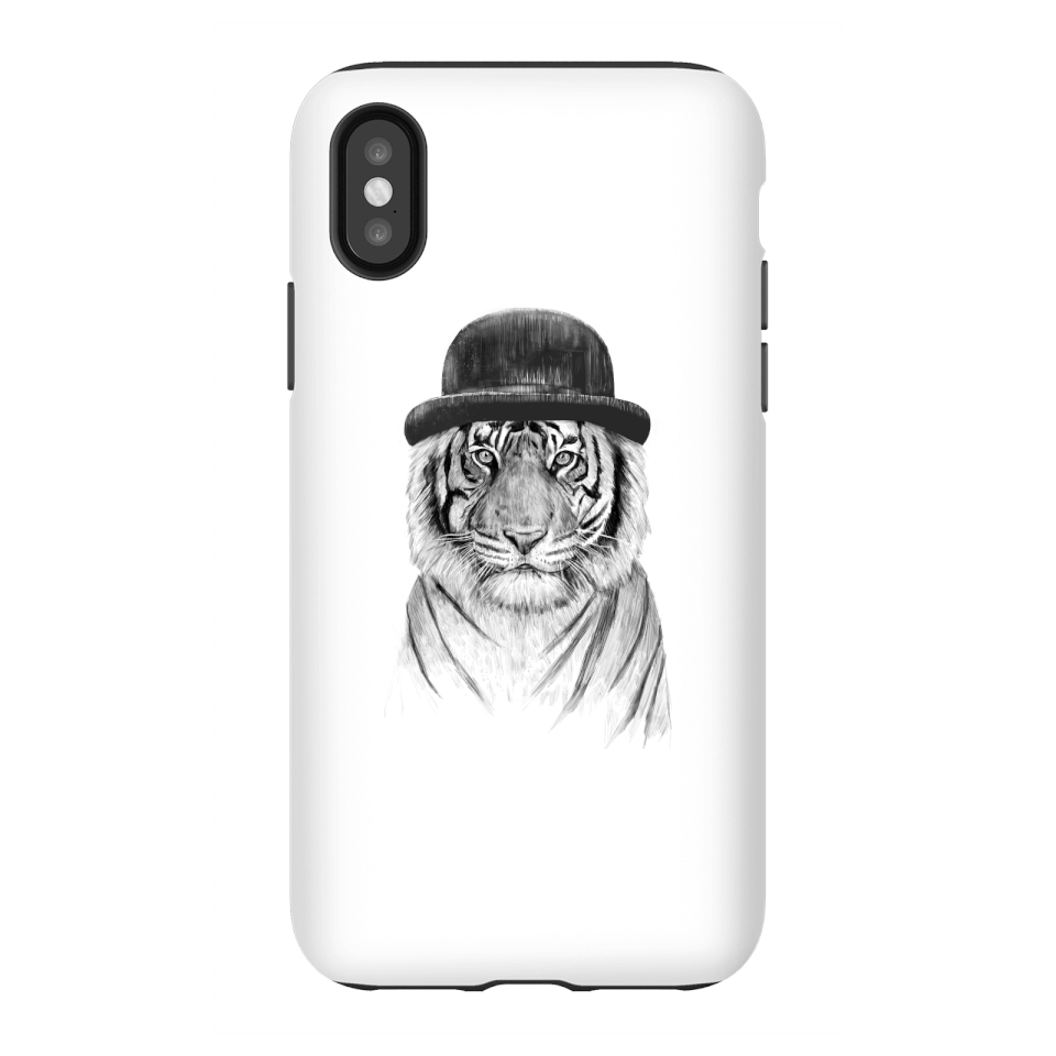 Balazs Solti Tiger In A Hat Phone Case for iPhone and Android - iPhone X - Tough Case - Gloss von Balazs Solti