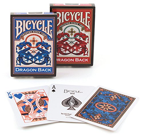 2 Pack Bicycle Dragon Back Decks Red & Blue Standard Poker Playing Cards von Bicycle