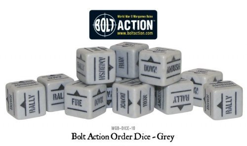 12 Bolt action Orders Dice Grey Warlord games WGB-DICE-10
