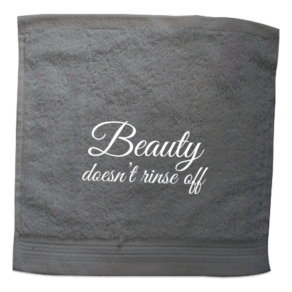 Beauty Doesn't Rinse Off Embroidered Towel - Face Cloth von By IWOOT