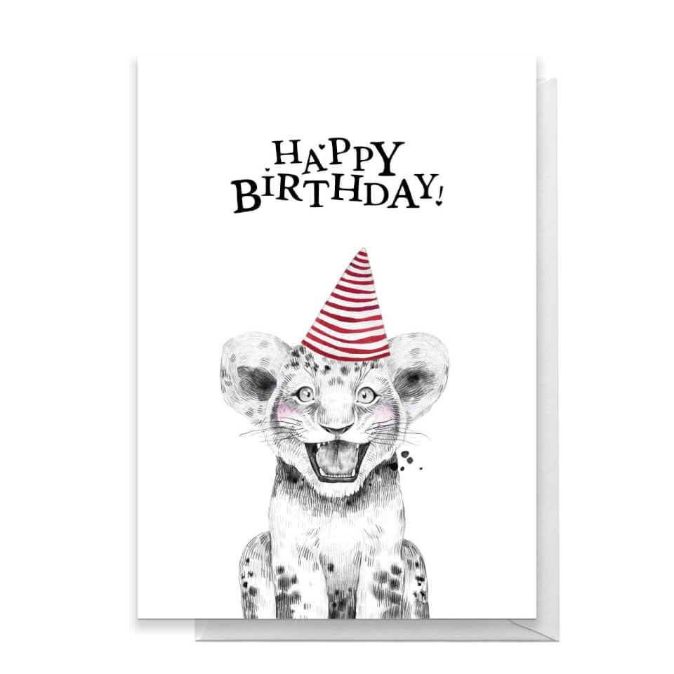 Happy Birthday Lion Cub Hat Greetings Card - Large Card von By IWOOT