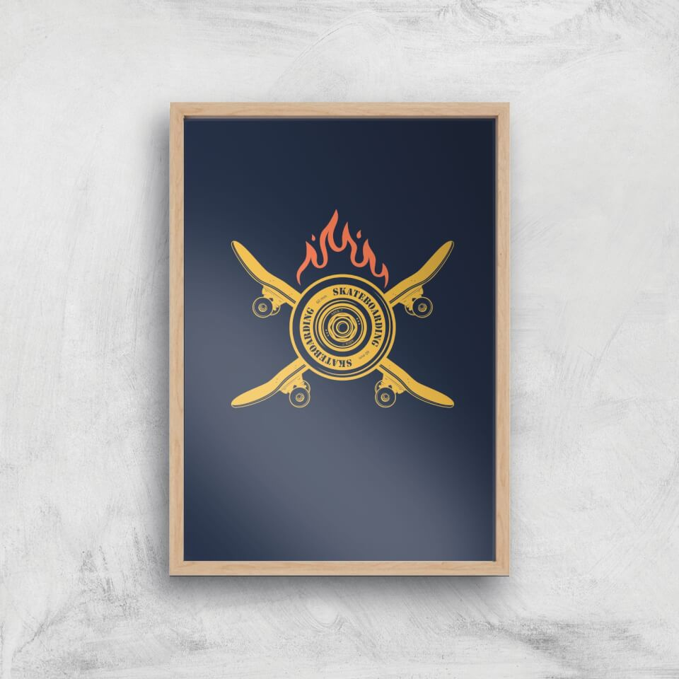 Skateboards On Fire Art Print - A3 - Wood Frame von By IWOOT