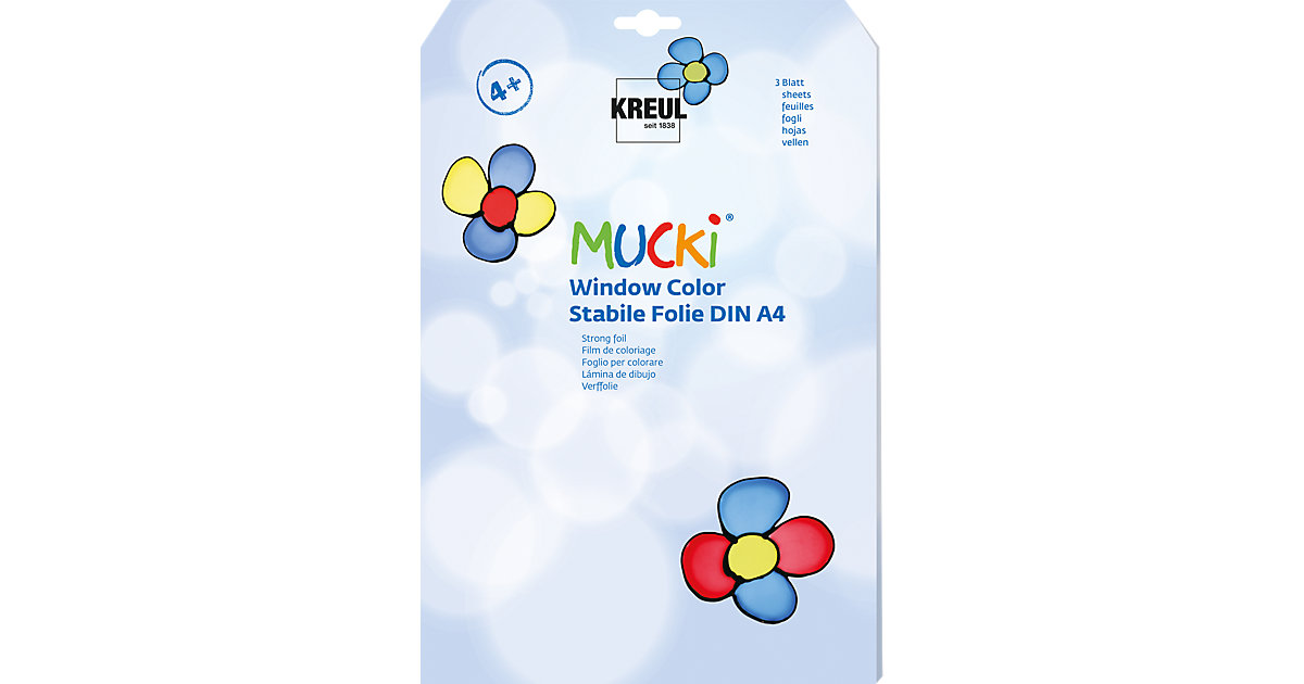 Mucki Window Color Stabile Malfolie A4, 3 Blatt von C. KREUL