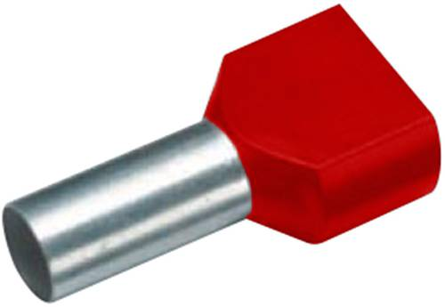 Cimco 18 2442 Zwillings-Aderendhülse 2 x 1.50mm² x 12mm Teilisoliert Rot 100St. von Cimco