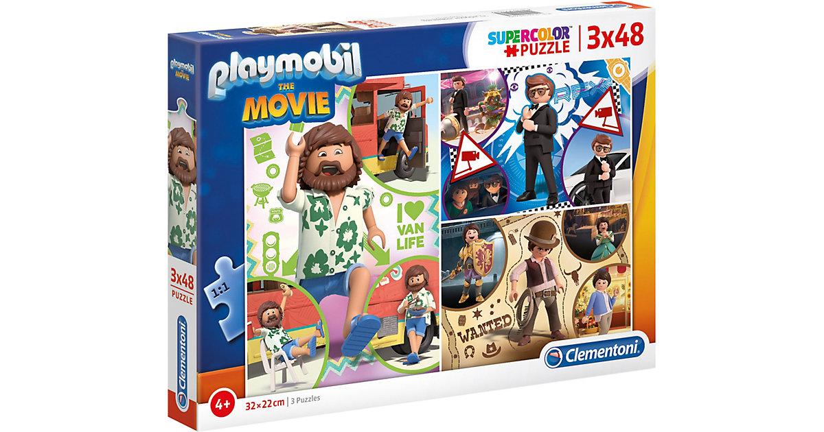 Puzzle 3 x 48 Teile Supercolor Playmobil the Movie von Clementoni