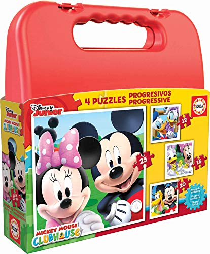 Educa 16505 - Koffer Progressive Puzzle, Mickey Mouse Club House, 4-er Set von Educa