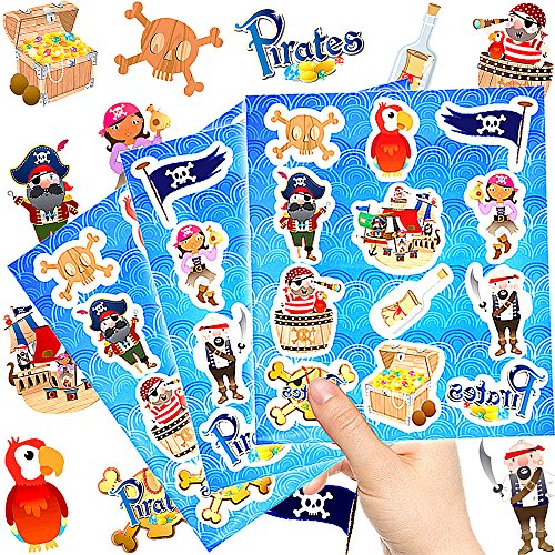 German-Trendseller  - 72 x Piraten Kinder Sticker - Set┃ Neu ┃ Mix ┃ Kindergeburtstag ┃ Mitgebsel ┃ Piraten Party ┃ 6 Bögen von German-Trendseller