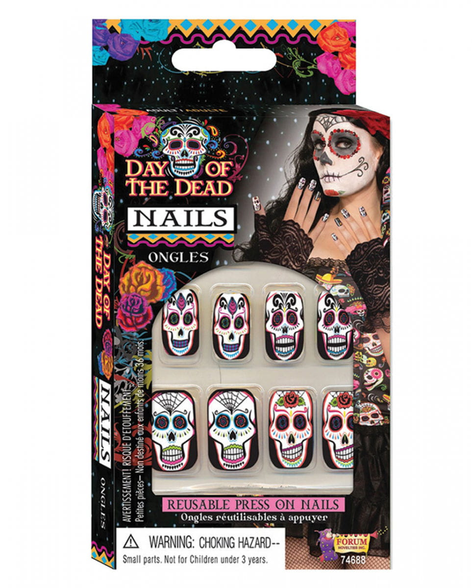 Sugar Skull Fingernägel  Day of the Dead Nails von Karneval Universe