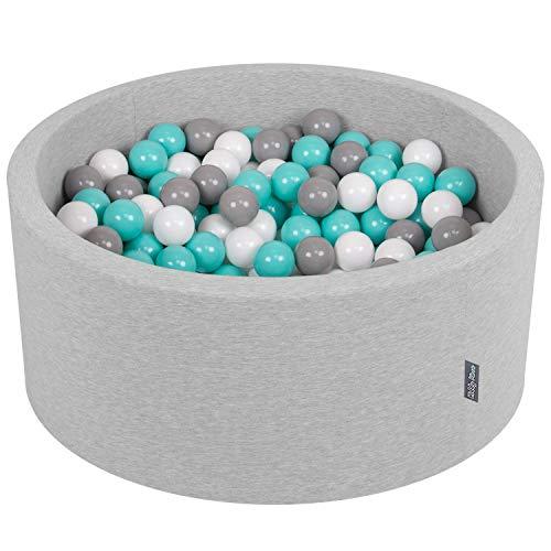 KiddyMoon B/ällebad Baby Spielbad Mit Bunten B/ällen /∅ 7Cm Rund Made In EU Dunkelblau:Grau//Wei/ß//T/ürkis,90X30cm//KEINE B/älle