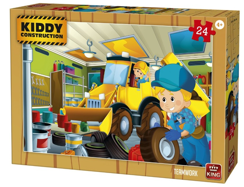King International Kiddy Construction - Teamwork 24 Teile Puzzle King-Puzzle-55835 von King International