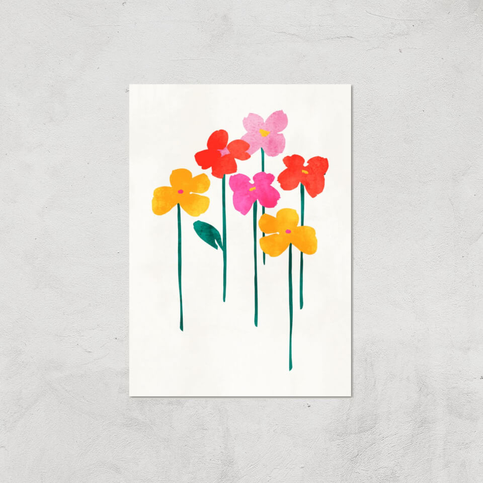 Kubistika Happy Little Flowers Giclee Art Print - A4 - Print Only von Kubistika