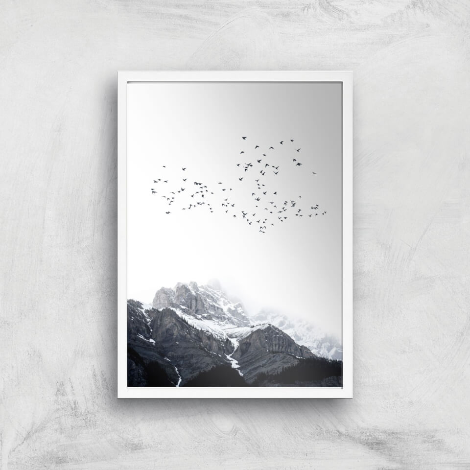 Kubistika The Mountains Giclee Art Print - A2 - White Frame von Kubistika