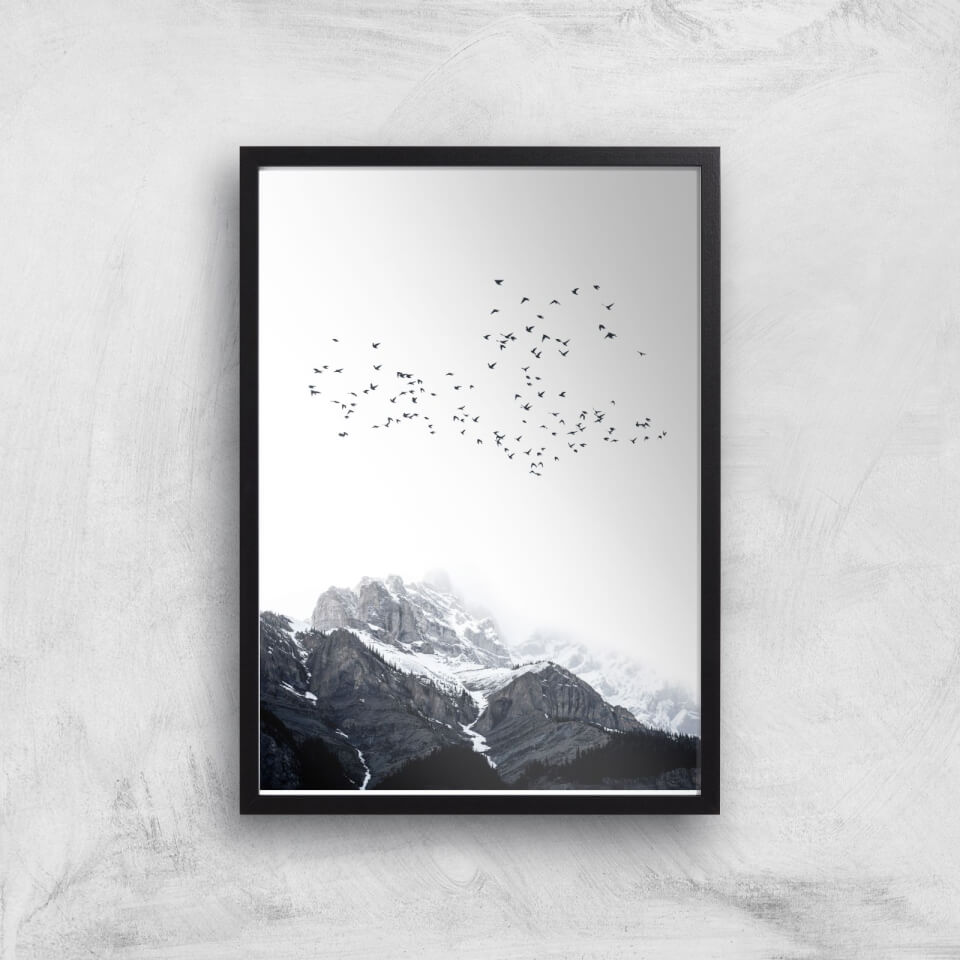 Kubistika The Mountains Giclee Art Print - A3 - Black Frame von Kubistika