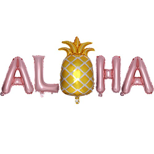 LUOEM Hawaiian Folie Ballons ALOHA Mylar Ballon Hawaii Luau Partydekorationen Sommer tropischen Party Favors Supplies (Rose Gold) von LUOEM