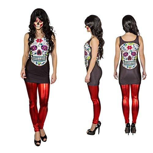 Sugar Skull Damenkostüm Tag der Toten Kostüm XL 46//48 Dia de los Muertos Kleid
