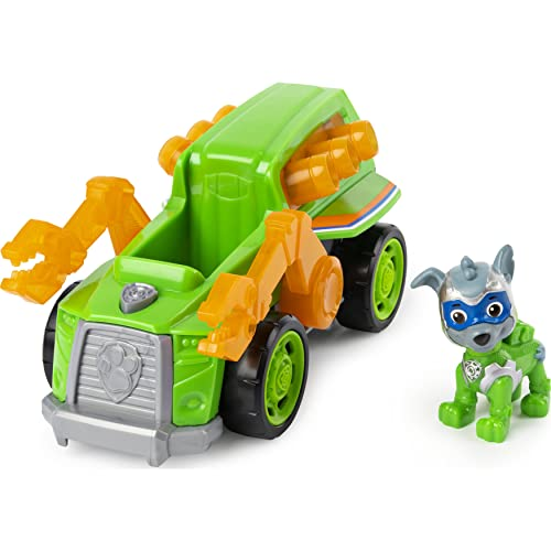 PAW Patrol Mighty Pups Super Paws Recyclingtruck mit Rocky-Figur (Basic Themed Vehicle) von PAW PATROL