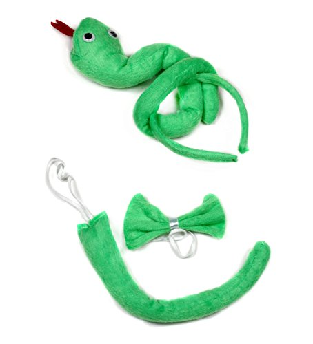 Green Snake Headband Bowtie Tail 3pc Costume for Children Birthday or Party (Green) von Petitebelle