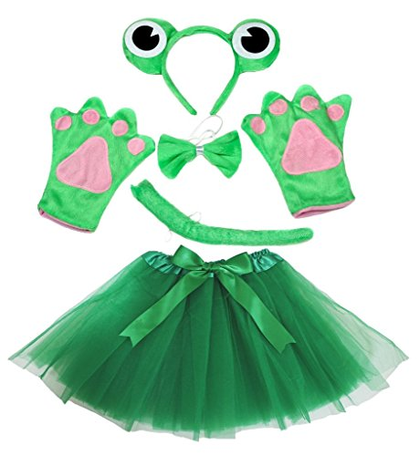 Petitebelle Frog Costume Headband Bowtie Tail Gloves Green Tutu Set for Lady (Green) von Petitebelle