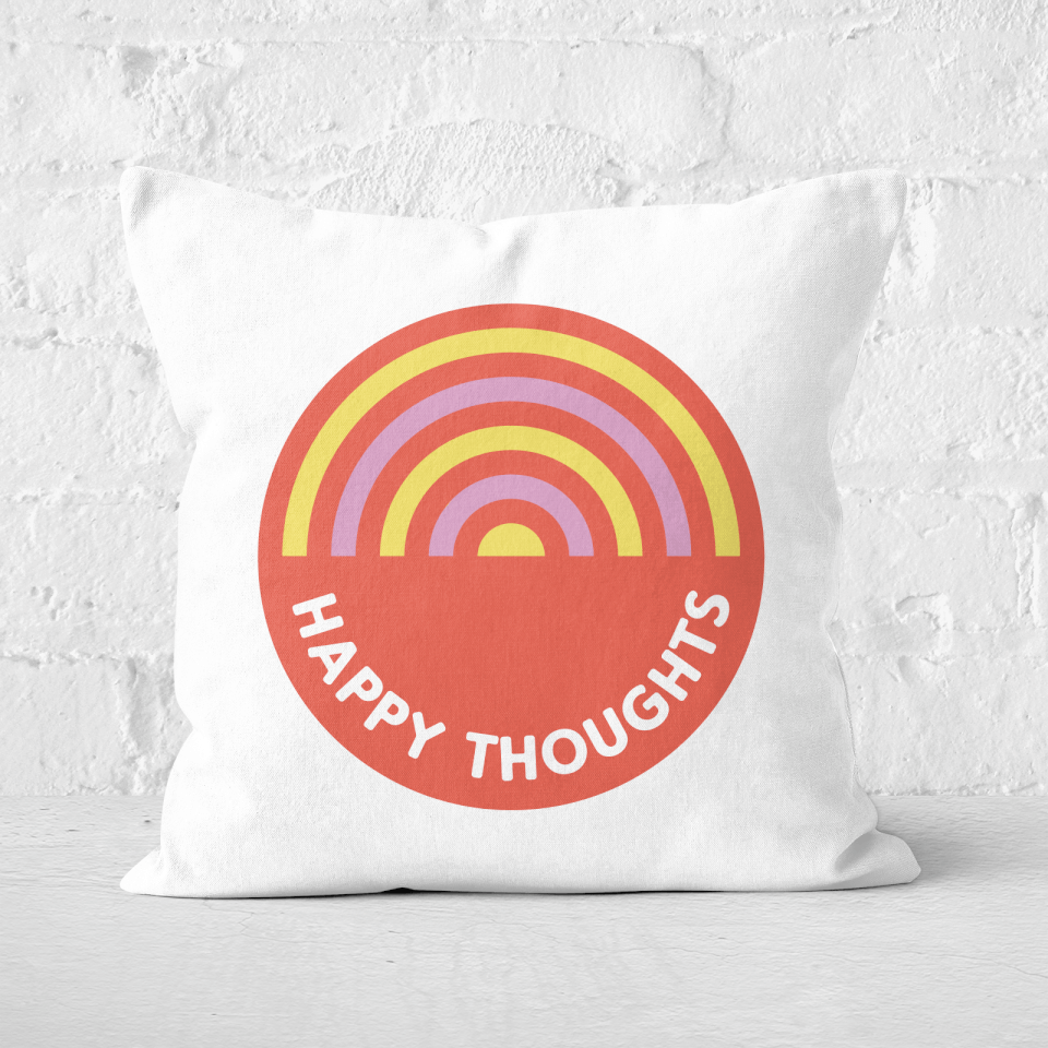 Happy Thoughts Square Cushion - 60x60cm - Soft Touch von Rainbow