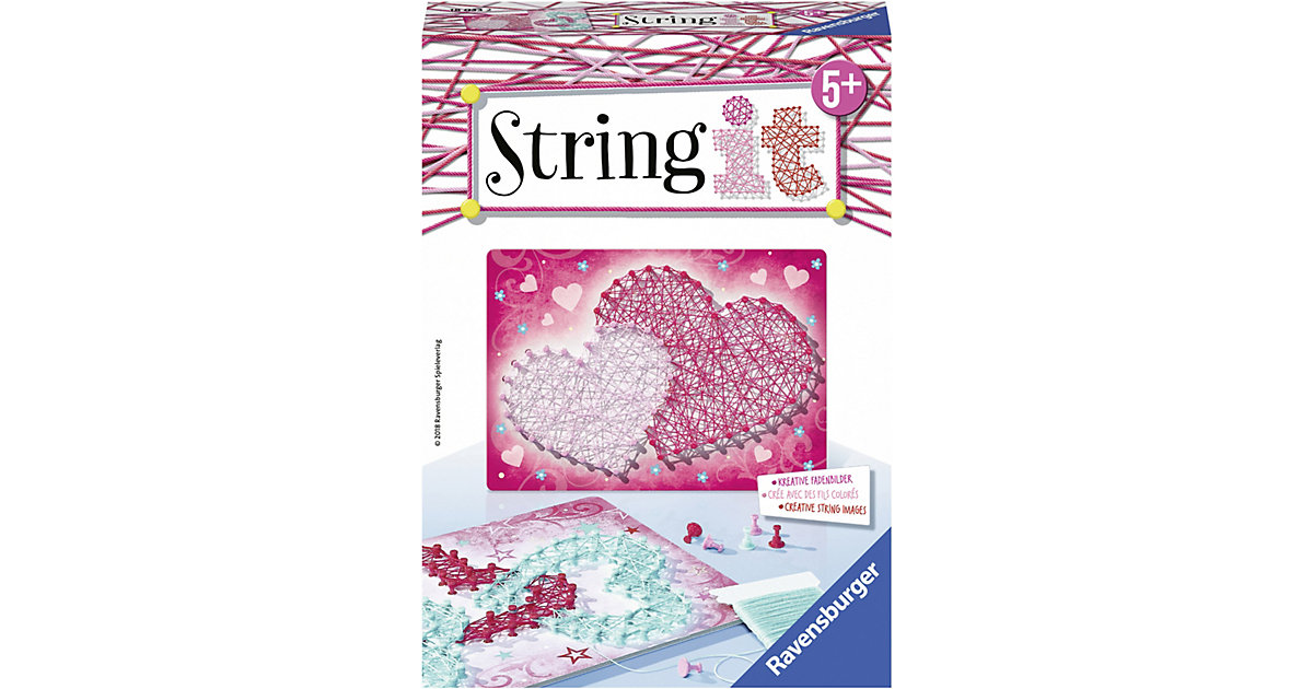 2er-Set Faden-Bild String it Mini, 16x22 cm, Hearts von Ravensburger