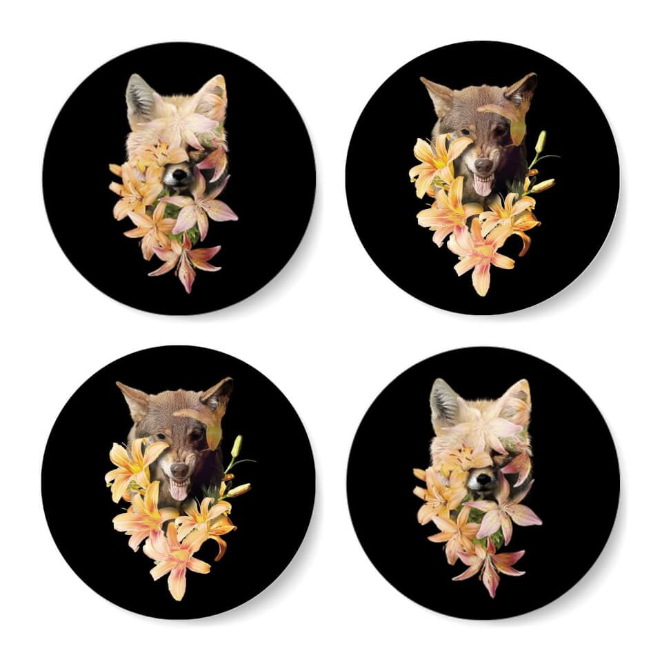 Fox And Wolf Flowers Coasters Coaster Set von Robert Farkas