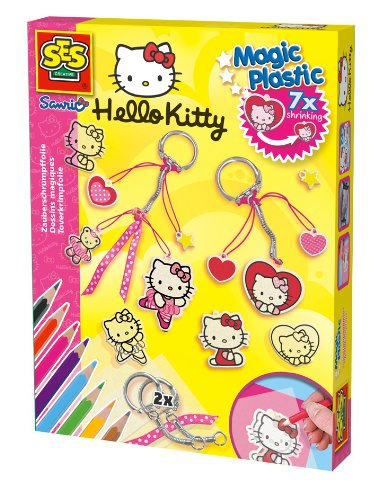 SES Creative 14691 - Zauberschrumpffolie Magic Plastic Hello Kitty Anhänger von SES
