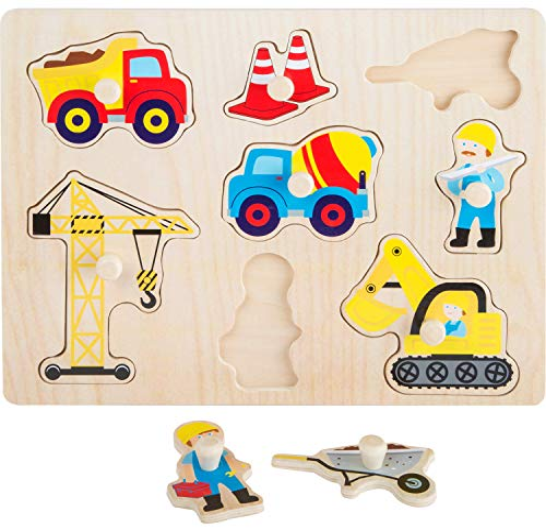 kindgerechte Haptik Spielzeug Mehrfarbig small foot 11120 by Legler Schichtenpuzzle Fahrzeuge aus Holz 6 beidseitig Bedruckte Teile zum Spielen und Puzzeln