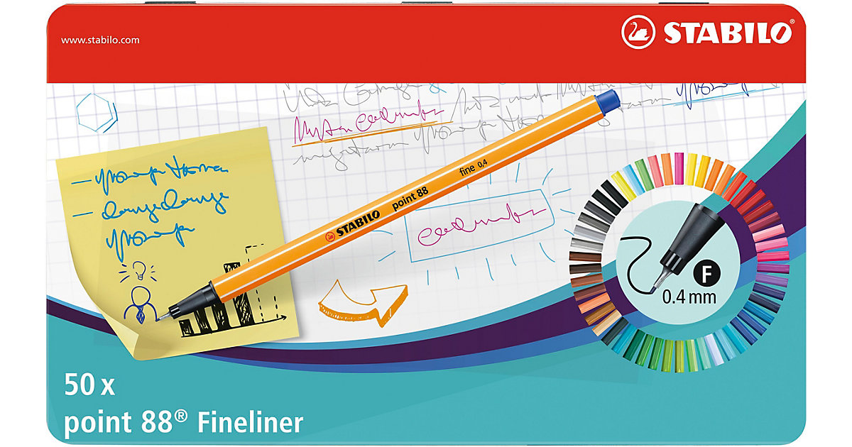 Fineliner point 88 Metalletui, 50 Farben von Stabilo