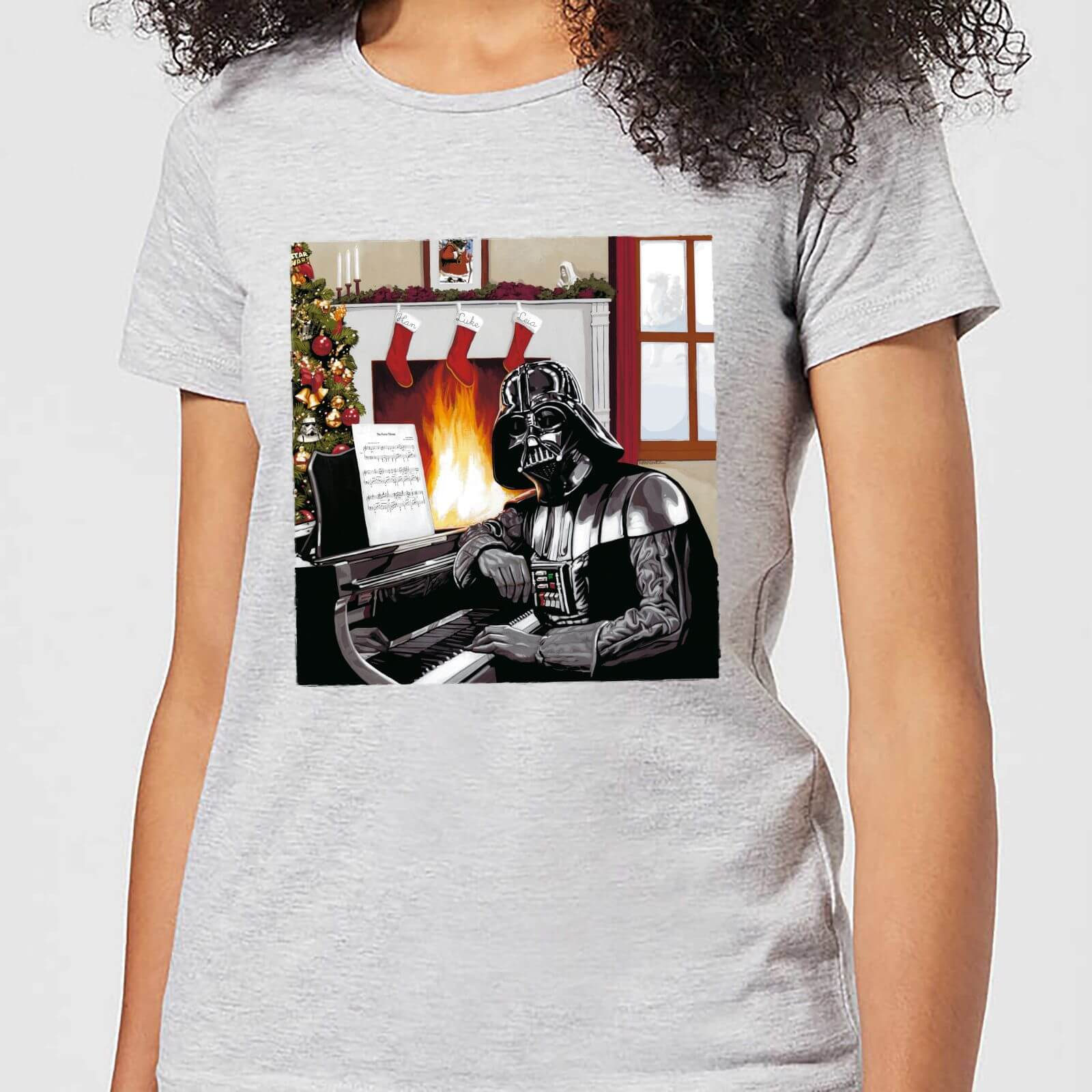 Star Wars Darth Vader Piano Player Women's Christmas T-Shirt - Grey - S - Grau von Star Wars