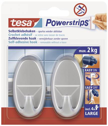 TESA 58063-00-01 Powerstrips® Haken Large Oval, Chrom (matt) Inhalt: 1 Pckg von Tesa