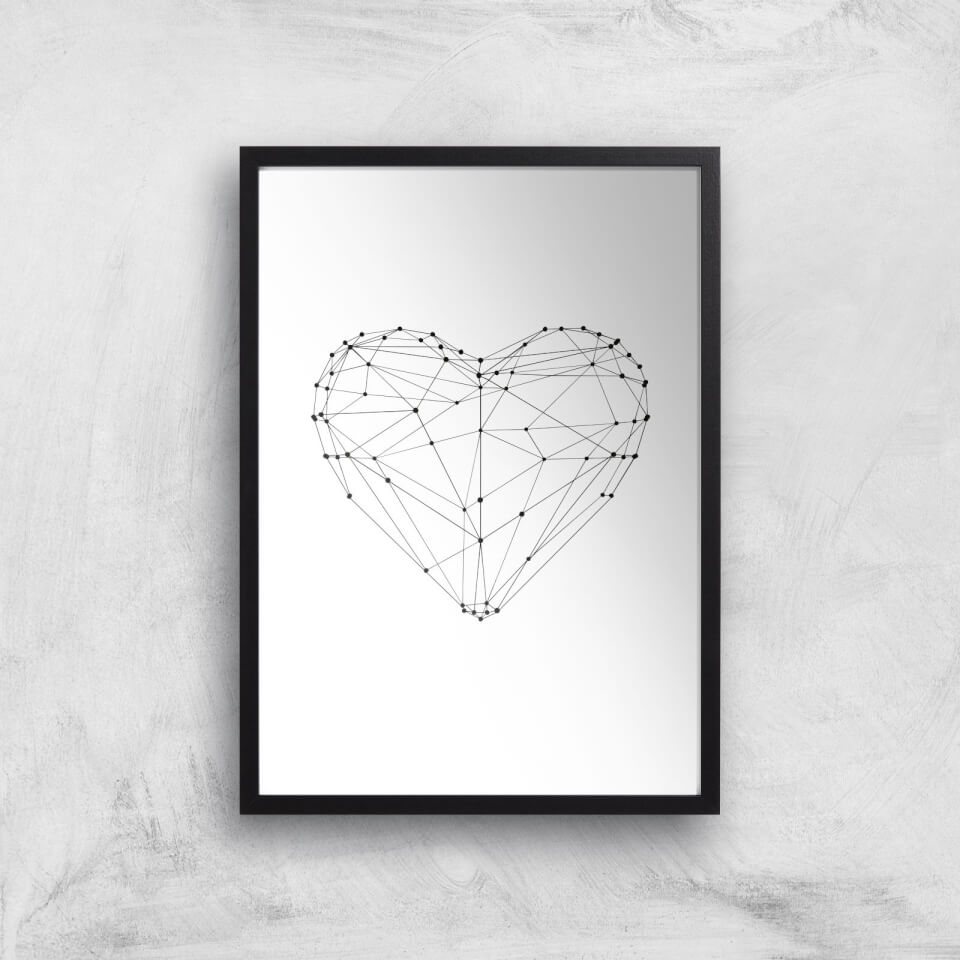 The Motivated Type Love Heart Polygon Giclee Art Print - A3 - Black Frame von The Motivated Type