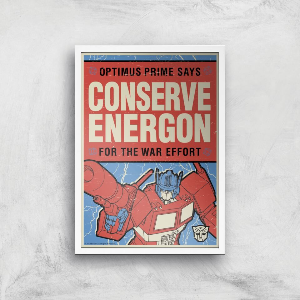 Transformers Conserve Energon Poster Art Print - A3 - White Frame von Transformers