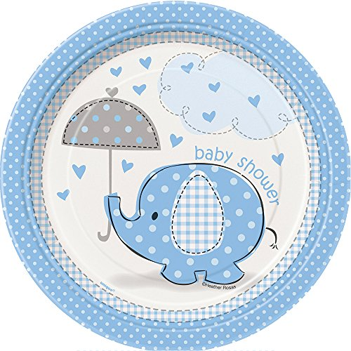 "Unique Party 105.905,3 cm CO Umbrellaphants blau Baby Dusche""Papier Teller von Unique Party Supplies"