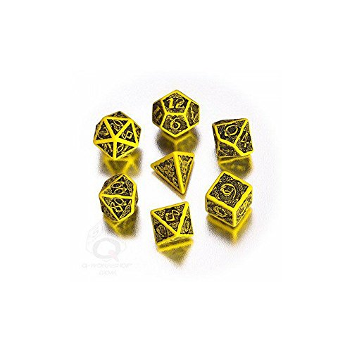 Q-Workshop QWOCER13 - Brettspiel Celtic 3D Revised Dice Set, schwarz/gelb von Q-Workshop