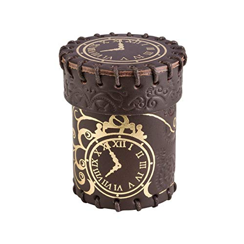 Q-Workshop QWOCST02 - Brettspiel Steampunk Dice Cup, braun/golden Leather von Q-Workshop