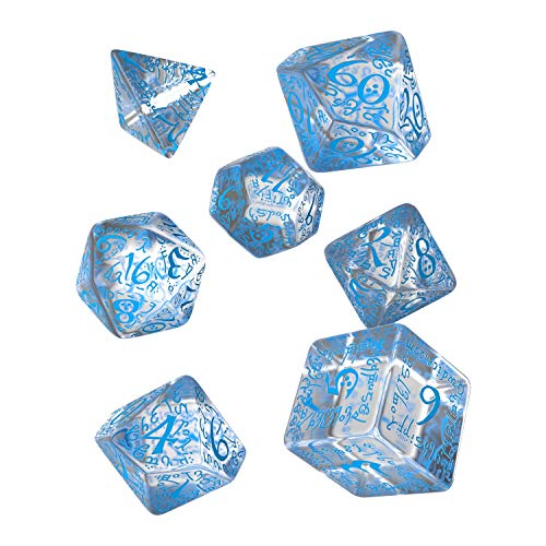 Q-Workshop QWOELV11 - Elvish Dice, Brettspiel, Transparent/blau von Q-Workshop