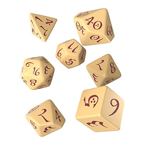 Q-Workshop QWOCLE87 Classic RPG Dice Set Beige/Burgundy (7), Mehrfarbig von Q-Workshop