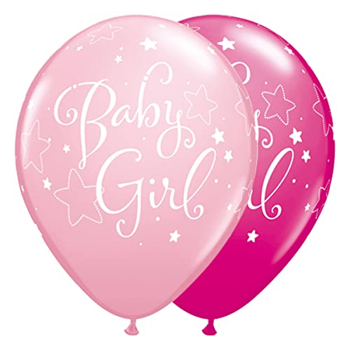 Qualatex Ballons Latex 51814 Baby Girl Stars rund, pink Berry, 27,9 cm, 25-teilig von Qualatex