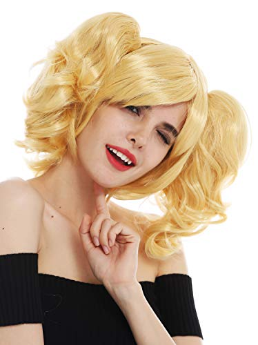 WIG ME UP - SH70102-ZA88C Perücke Karneval Cosplay Damen Girly Gothic Lolita abnehmbare Zöpfe schulterlang blond von WIG ME UP