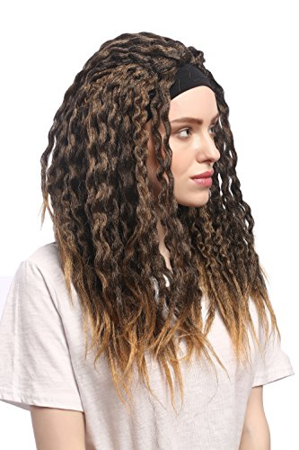 WIG ME UP - 90837-ZA36TZA103 Perücke Karneval Halloween Stirnband Dreads Dreadlocks Rasta Karibik Afro Braun Blond Mix von WIG ME UP