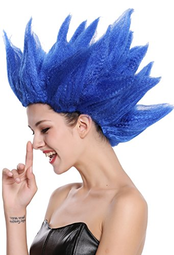 WIG ME UP - 91062-PC3 Perücke Damen Herren Karneval Halloween Cosplay Blume Tulpe Dämon Fee blau hochtoupiert von WIG ME UP