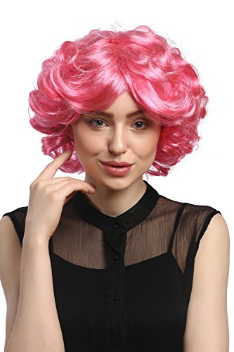 WIG ME UP - DEC31-PC28/41 Perücke Damen Karneval Fasching Cosplay kurz pink rosa Locken Volumen Popstar 80er von WIG ME UP