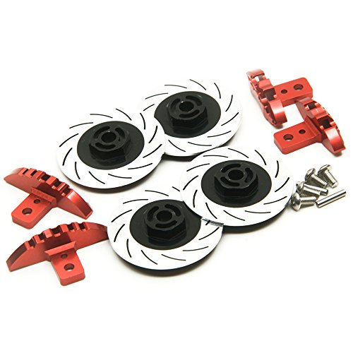 XUNJIAJIE 1 Set Aluminum Caliper & Brake Disc Set for Racing Car Sakura D4 AWD/RWD (Schwarz) von XUNJIAJIE